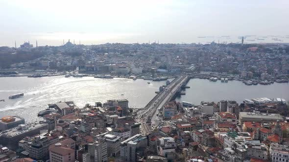 Thumbnail for Golden Horn And Galata Bridge Aerial Hyperlapse