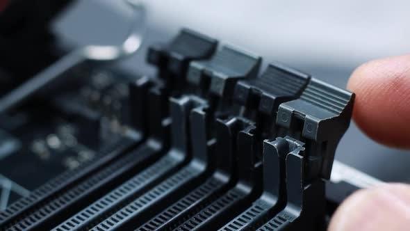 Memory slots on a  modern computer gaming motherboard