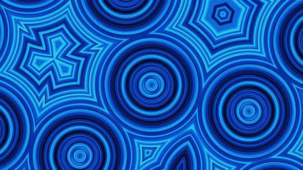 Blue abstract background, motion circles and flashing light