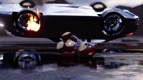 Thumbnail for Luxury Sports Car Reversing and Burning by Crash