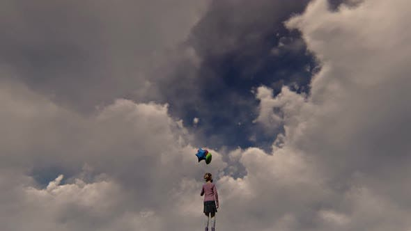 Thumbnail for Little Girl and Clouds Surreal Scene