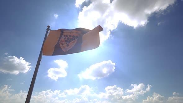 Cornwall City Flag (Ontario) on a Flagpole V4
