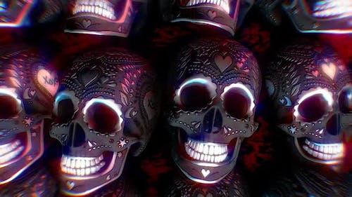 Engraved metal skulls