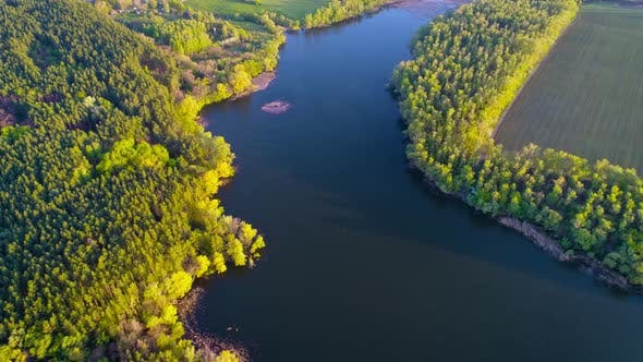 Thumbnail for Flying Over the Beautiful Spring River. Aerial Camera Shot. Ukraine.