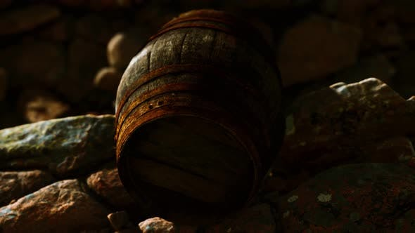 Old Wooden Barrel on the Rocks