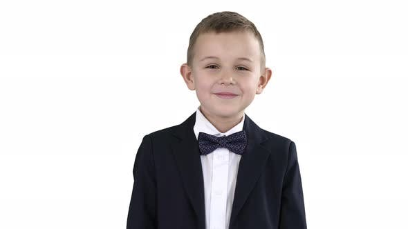 Thumbnail for Smiling Little Boy in Formal Clothes Standing on White Background