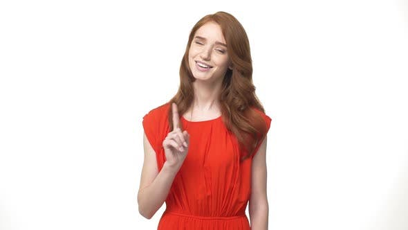 Thumbnail for Young Beautiful Caucasian Woman in Gorgeous Orange Dress Standing and Say No Isolated Over White