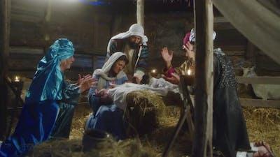 Magi and Parents Gathering Around Baby Jesus