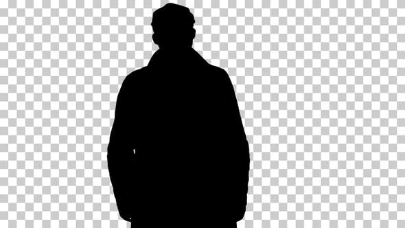 Thumbnail for Silhouette man in coat, Alpha Channel
