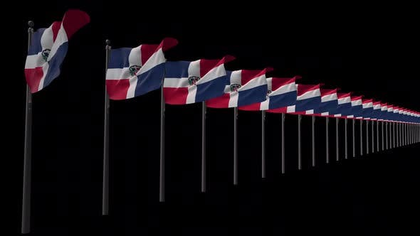 Row Of Dominican Republic Flags With Alpha 2K