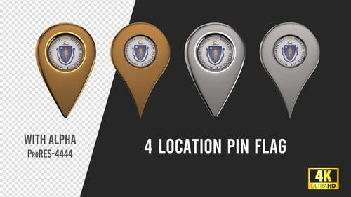 Massachusetts State Seal Location Pins Silver And Gold