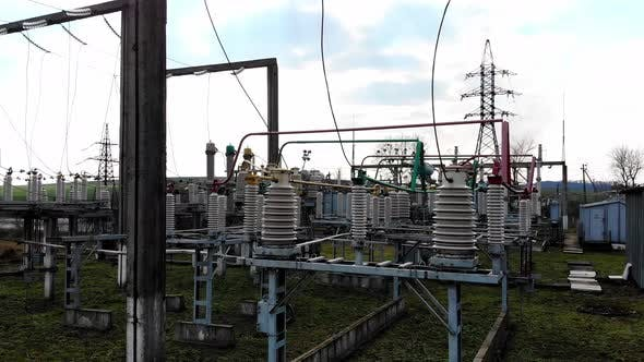 High Voltage Electrical Substation. High Voltage Power Plant for a Small Town. Electric Power