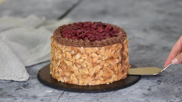 Delicious Homemade Chocolate Cherry Cake with Almond Flakes.