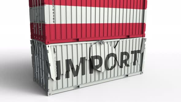 Thumbnail for Container with Flag of Austria Breaks Container with IMPORT Text