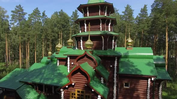 Thumbnail for Aerial view of churchs in Monastery in forest