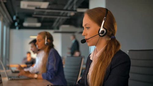 Call-center Employees Work in Deal Office