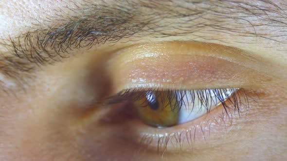 Thumbnail for Macro Close-up Male Human Eye Blinking. Slow Motion