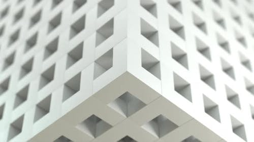 Seamless loop white mesh box resizing enlarge and retract