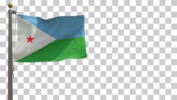 Thumbnail for Djibouti Flag on Flagpole with Alpha Channel
