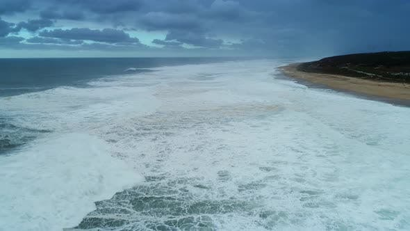 Thumbnail for Aerial View on Big Waves Atlantic Ocean at Storm