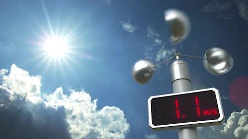Anemometer Displays 10 Meters Per Second Wind Speed