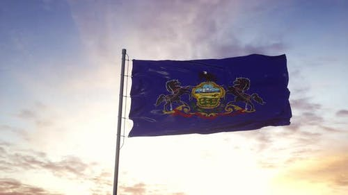 State Flag of Pennsylvania Waving in the Wind