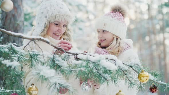 Cover Image for A Little Girl and a Young Mother Decorate a Christmas Tree with Decorative Balls in the Snow-covered