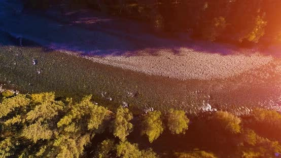 Thumbnail for Mid Air Flight Over Fresh and Clean Mountain River at Sunny Summer Morning. Vertical Movement
