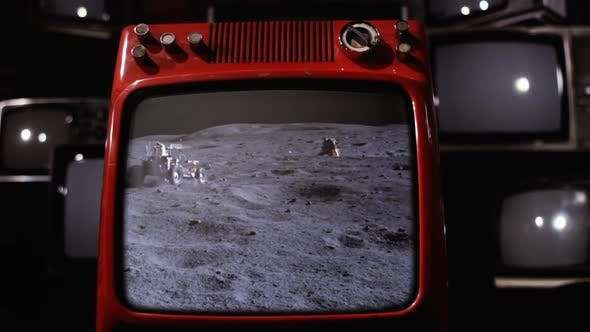 Thumbnail for LRV, Lunar Roving Vehicle in the Moon on a Retro TV.