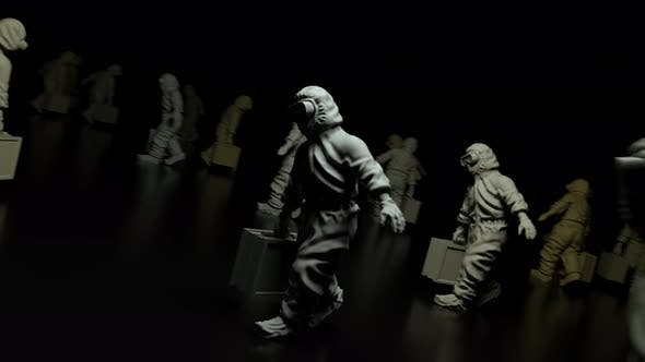 Statue Of Epidemic Health Workers 4k