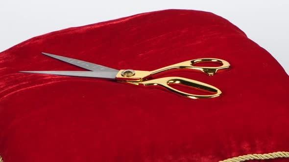 Golden Shears. Red Cushion for Opening Ceremonies. Rotation