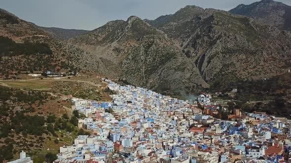 Thumbnail for Luftaufnahme von Blue Old City Chefchaouen, Marokko