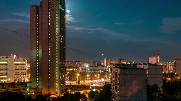 Thumbnail for Night Urban View With Moon and Clouds Motion