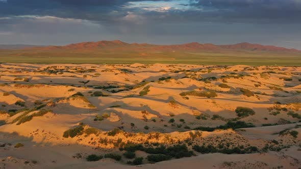 Sand Dunes in Desert at Sunrise in Mongolia