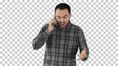 Man angry talking on telephone and walking, Alpha Channel