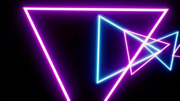 4K Neon Triangle Tunnel Loop