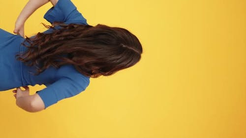 Virtual Choice Curious Woman Touching Copy Space