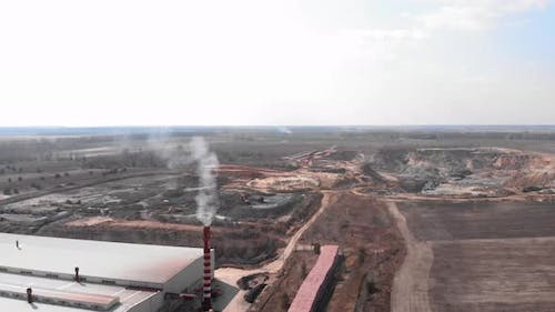 Brickworks plant and giant clay quarry