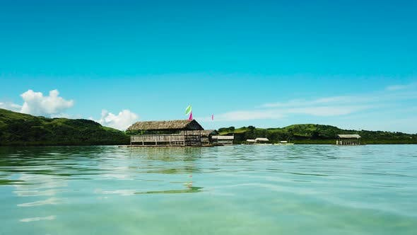 Manlawi Sandbar Floating Cottages in Caramoan Islands, A Lagoon with Floating Crotches, Top View
