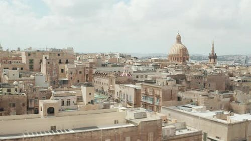 Aerial Establishing Wide Shot of Valletta City, Capital of Malta Island in Beige Color with