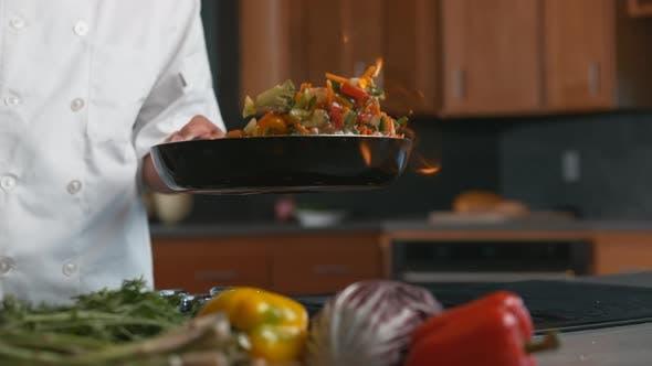 Thumbnail for Flaming stir-fry in super slow motion, shot with Phantom Flex 4K camera.