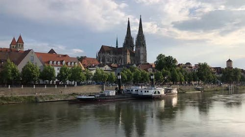 Time lapse from the Danube river with the St Peter Cathedral
