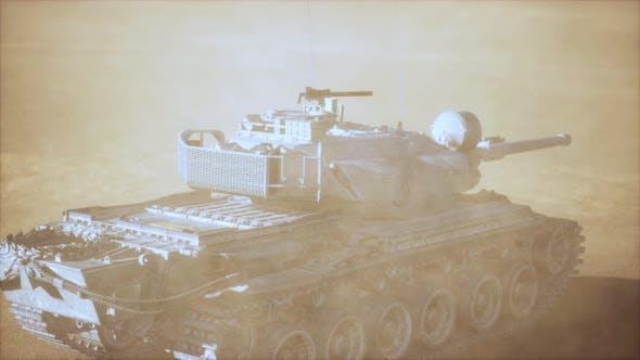 World War II Tank in Desert in Sand Storm