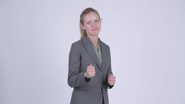 Thumbnail for Young Happy Blonde Businesswoman Ready To Fight
