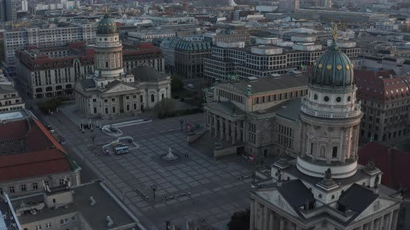 Thumbnail for AERIAL: Empty Berlin Gendarmenmarkt Square with View on German Church, Konzerthaus and French Church
