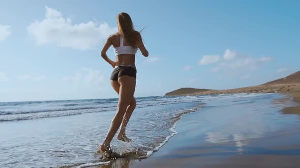 Thumbnail for Running Woman, Female Runner Jogging During Outdoor Workout on Beach