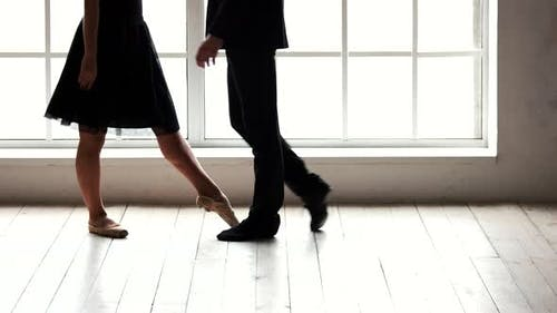 Ballet Couple Having Rehearsal Before Performance
