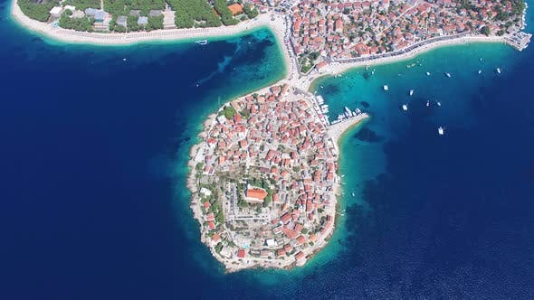 Thumbnail for View from above of touristic destination of Primosten city on peninsula, Croatia