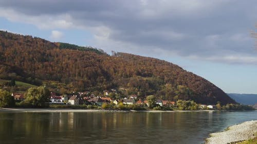 Autumn View Of Small Austrian Village On A River Bank 2