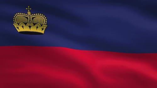 Liechtenstein Windy Flag Background 4K